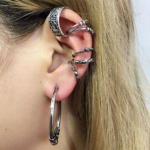 7pcs/set Vintage C Shape Carving Stud Earrings